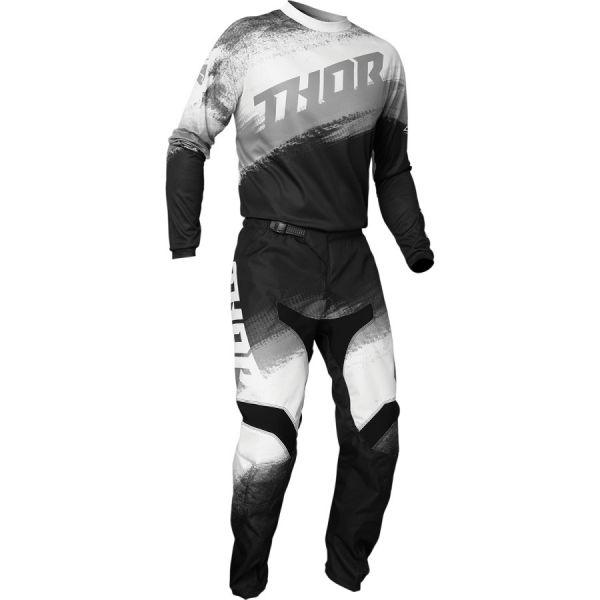 Combo MX Enduro Thor Combo Tricou + Pantaloni Sector Vapor Negru/Alb 2020