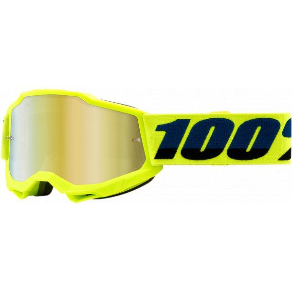 Ochelari MX-Enduro Copii 100 la suta Ochelari MX Copii Accuri 2 Fluo Yellow Mirror Gold Lens