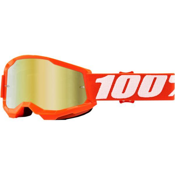 Ochelari MX-Enduro Copii 100 la suta Ochelari MX Copii Strata 2 Orange Mirror Gold Lens