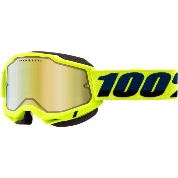 Ochelari Snowmobil 100 la suta Ochelari Snow Accuri 2 Fluo Yellow Mirror Gold Lens