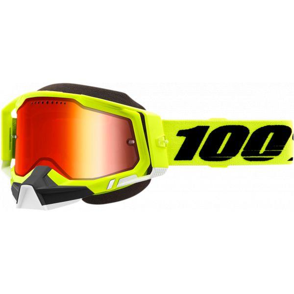 Ochelari Snowmobil 100 la suta Ochelari Snow Racecraft 2 Fluo Yellow Mirror Lens