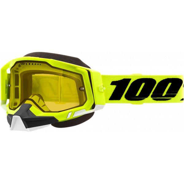 Ochelari Snowmobil 100 la suta Ochelari Snow Racecraft 2 Fluo Yellow