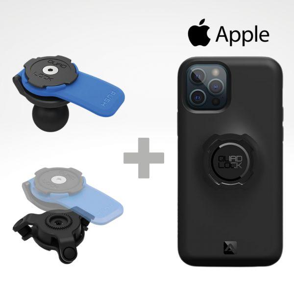 Suport Ghidon Telefon/GPS Quad Lock Kit Suport Adaptor Moto Bila + Amortizor Vibratii + Carcasa Telefon Apple