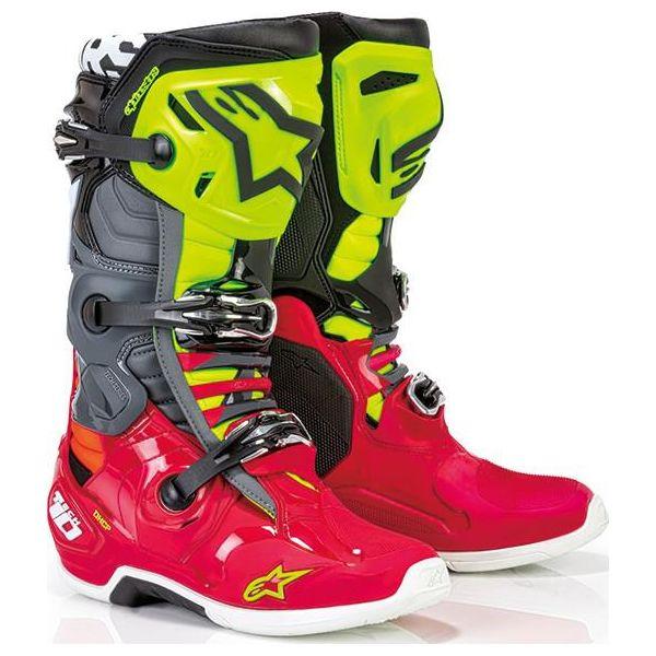 Cizme MX-Enduro Alpinestars Cizme Moto MX Tech 10  Red/Bk/Yellow Fluo