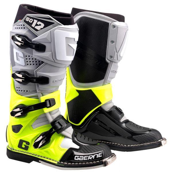Cizme MX-Enduro Gaerne Cizme Moto MX SG12 Gray/Yellow/Black 2021