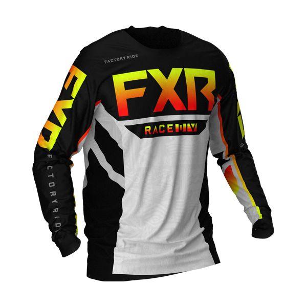 Tricouri MX-Enduro Copii FXR Tricou MX Copii Podium Black/Red/Hi Vis/Grey Aztec 2021