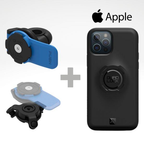 Quad Lock Kit Suport Telefon Moto pe Oglinda + Amortizor Vibratii + Carcasa Telefon Apple