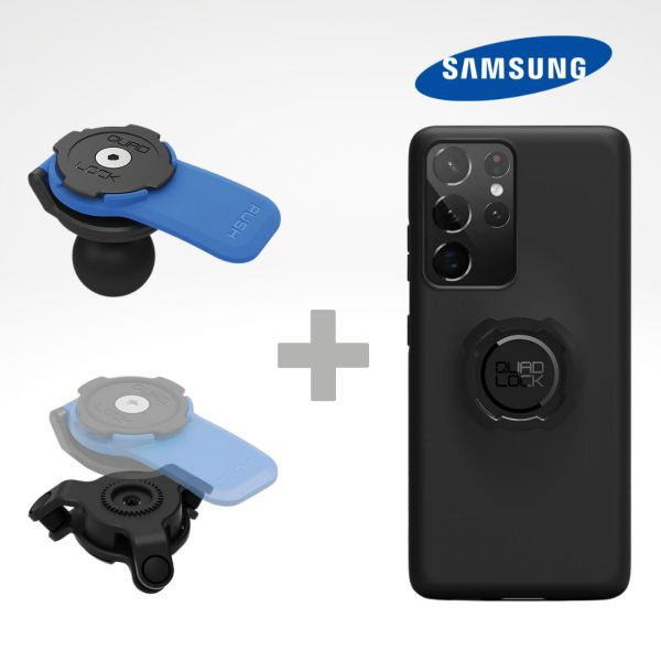 Suport Ghidon Telefon/GPS Quad Lock Kit Suport Adaptor Moto Bila + Amortizor Vibratii + Carcasa Telefon Samsung
