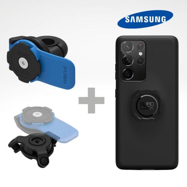 Suport Ghidon Telefon/GPS Quad Lock Kit Suport Telefon Moto pe Oglinda + Amortizor Vibratii + Carcasa Telefon Samsung