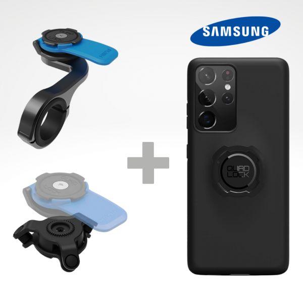 Suport Ghidon Telefon/GPS Quad Lock Kit Suport Telefon Moto pe Ghidon PRO + Amortizor Vibratii + Carcasa Telefon Samsung