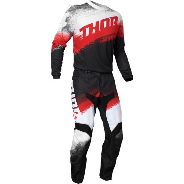 Combo MX Enduro Thor Combo Tricou + Pantaloni Sector Vapor Negru/Rosu 2020