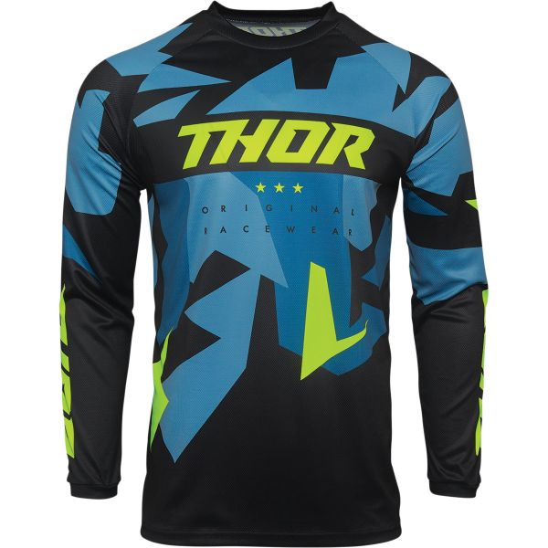 Tricouri MX-Enduro Thor Tricou MX Sector Warship Negru / Acid 2020