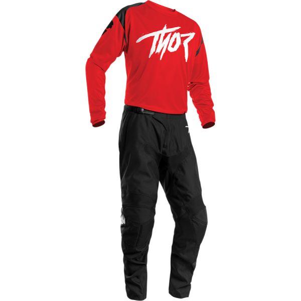 Combo MX Enduro Thor Combo Tricou + Pantaloni Sector Link Negru/Rosu