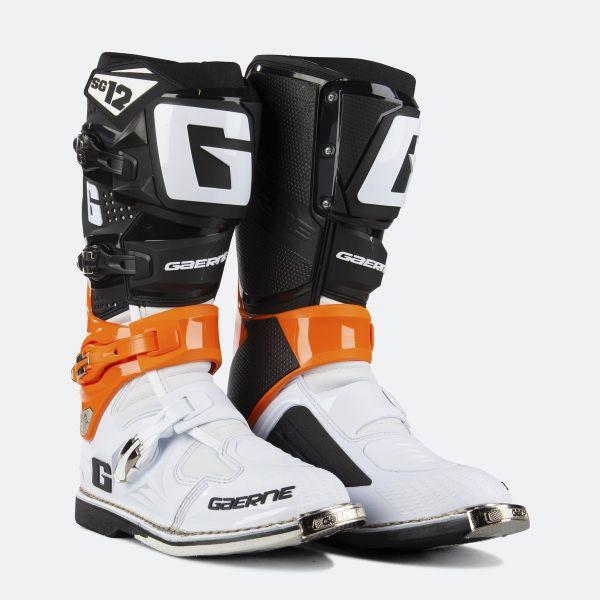 Cizme MX-Enduro Gaerne Cizme Moto MX SG12 Orange/Black/White
