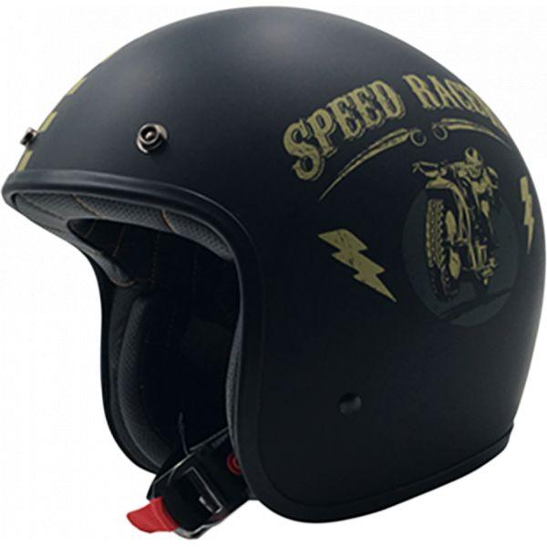 Casti Jet (Open Face) AFX Casca FX-76 Speed Racer Vintage Matte Black/gold 2021