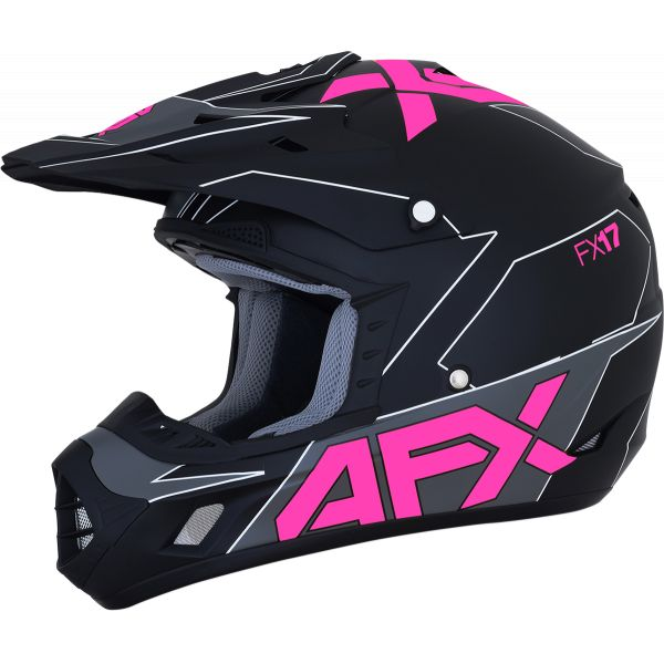 Casti MX-Enduro AFX  Casca Moto MX FX-17 Matte Black/Pink 2021