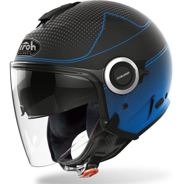 Casti Moto Jet (Open Face) Airoh Casca Helios Map Blue Matt 2020