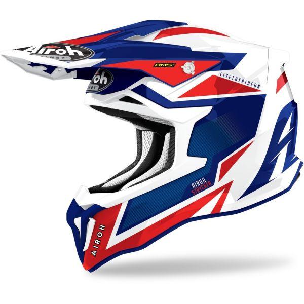 Casti MX-Enduro Airoh Casca Moto MX Strycker Blue/Red Glossy 2021