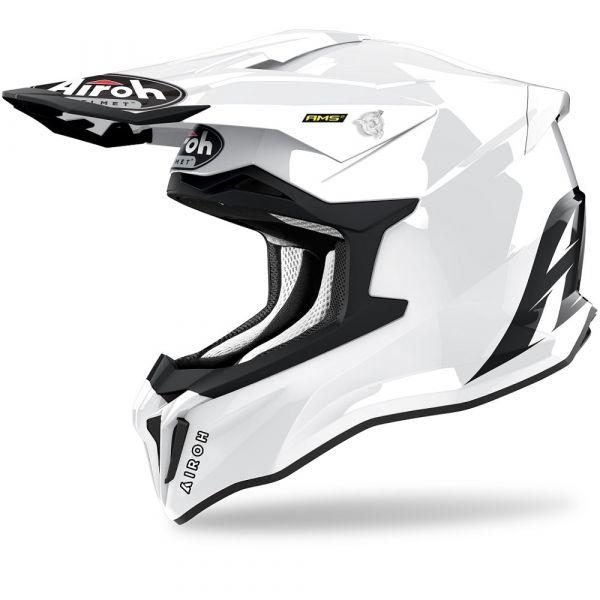 Casti MX-Enduro Airoh Casca Moto MX Strycker Solid White Glossy 2021