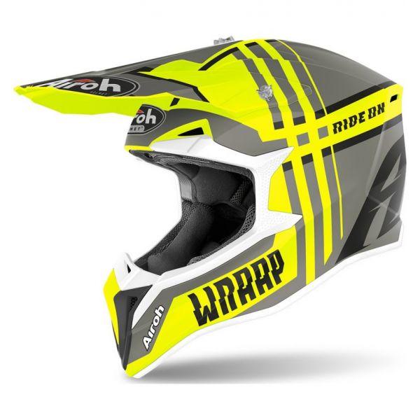 Casti MX-Enduro Airoh Casca Moto MX Wraap Broken Yellow Matt 2020