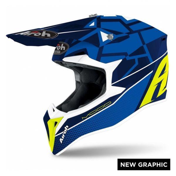 Casti MX-Enduro Airoh Casca Moto MX WRAAP MOOD BLUE GLOSS 2021