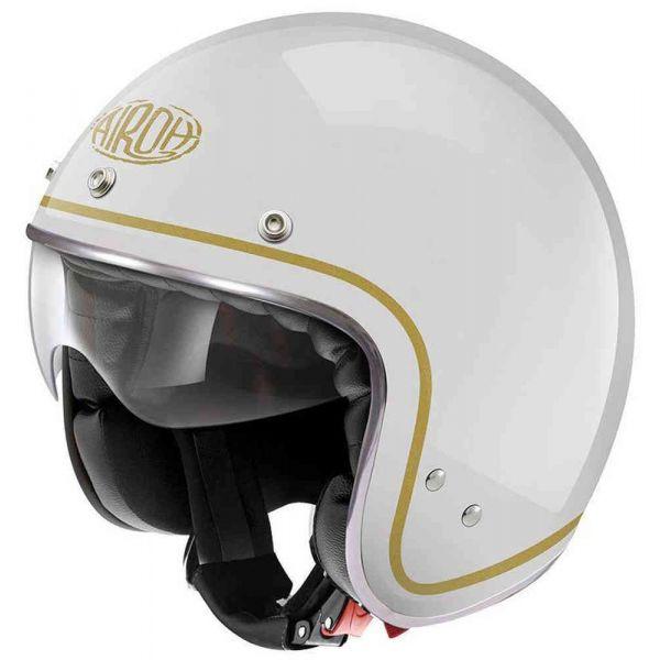 Casti Moto Jet (Open Face) Airoh Casca Moto Jet Riot White Gloss