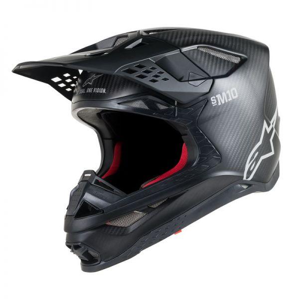 Casti MX-Enduro Alpinestars Casca Supertech M10 Solid Black Carbon S9