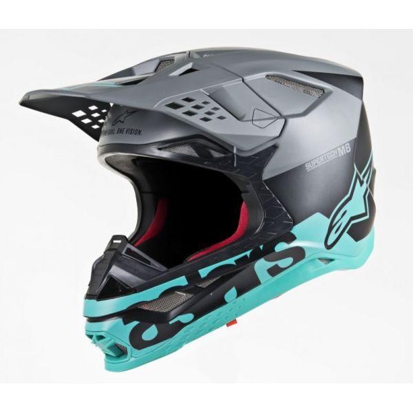 Casti MX-Enduro Alpinestars Casca Supertech M8 Radium Black Matt/Teal S9