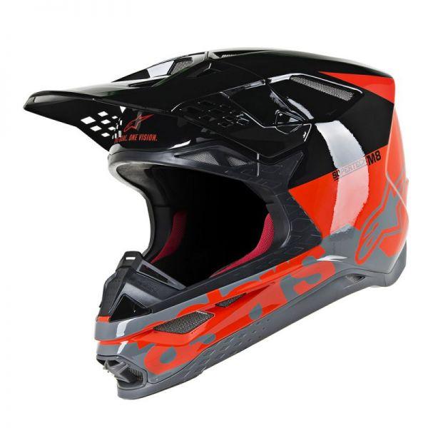 Casti MX-Enduro Alpinestars Casca Supertech M8 Radium Black/Orange Glossy S9