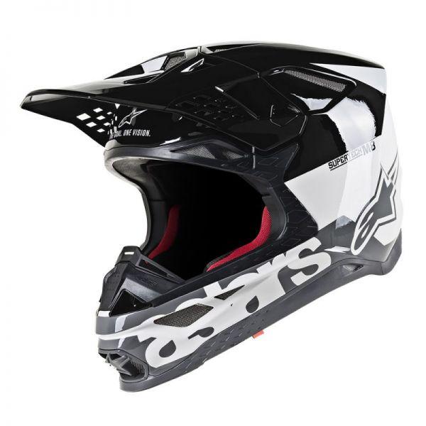 Casti MX-Enduro Alpinestars Casca Supertech M8 Radium Black/White Glossy S9