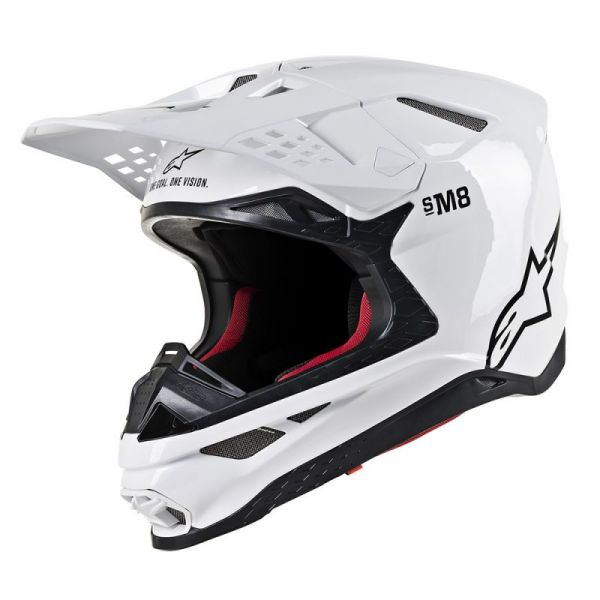 Casti MX-Enduro Alpinestars Casca Supertech M8 Solid White Glossy S9