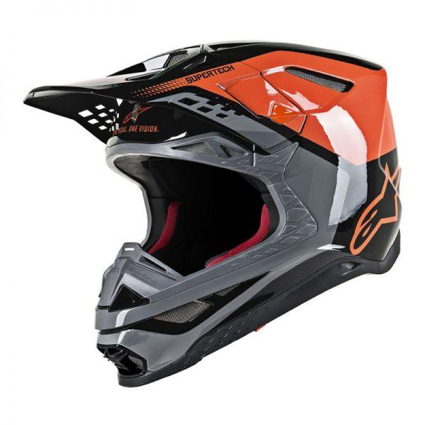 Casti MX-Enduro Alpinestars Casca Supertech M8 Triple Black/Orange Glossy S9