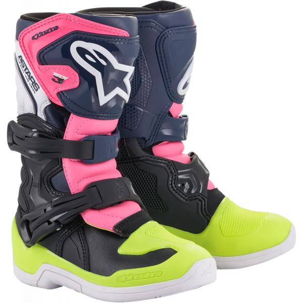 Cizme MX-Enduro Copii Alpinestars Cizme MX Copii/Adolescenti Tech 3S Multicolor/Roz 2021