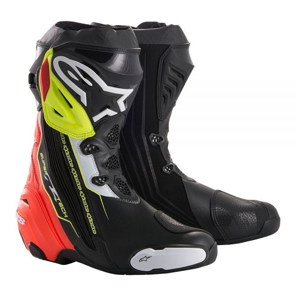 Cizme Moto Sport Alpinestars Cizme Racing Supertech R Black/Red/Yellow Fluo 2020
