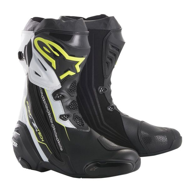 Cizme Moto Sport Alpinestars Cizme Racing Supertech R Black/White/Yellow Fluo 2020