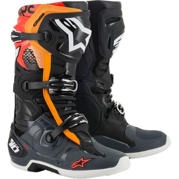 Cizme MX-Enduro Alpinestars Cizme MX Tech 10 Multicolor/Portocaliu 2020