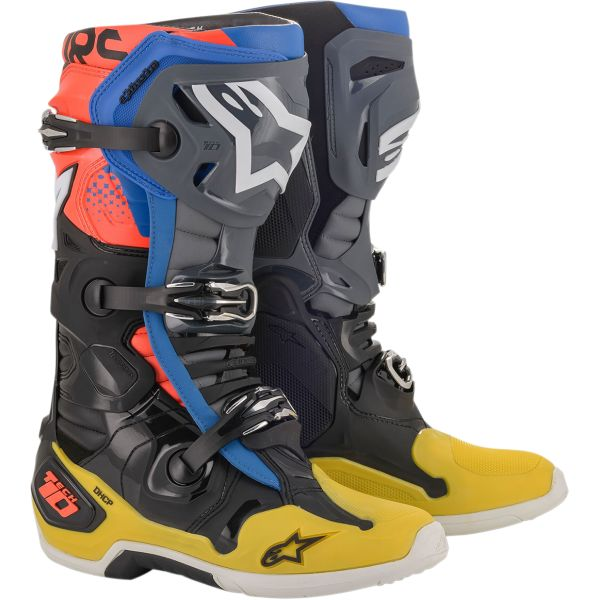 Cizme MX-Enduro Alpinestars Cizme Tech 10 Black/Yellow/Blue Red 2020