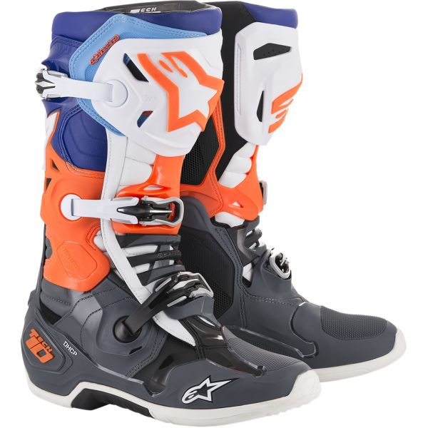Cizme MX-Enduro Alpinestars Cizme Tech 10 Cool Gray/Orange/Blue/White 2020