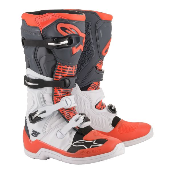 Cizme MX-Enduro Alpinestars Cizme Tech 5 White Gray/Red Fluo 2020