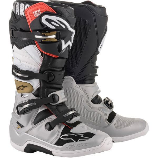 Cizme MX-Enduro Alpinestars Cizme Tech 7 Black/Silver White/Gold 2020
