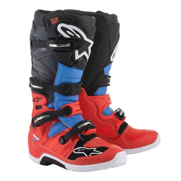Cizme MX-Enduro Alpinestars Cizme Tech 7 Red/Cyan/Gray/Black 2019
