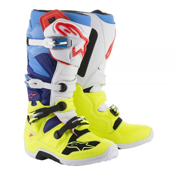 Cizme MX-Enduro Alpinestars Cizme Tech 7 Yellow/White/Blue/Cyan 2019