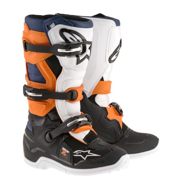 Cizme MX-Enduro Copii Alpinestars Cizme Tech 7S Black/Orange/White/Blue Copii