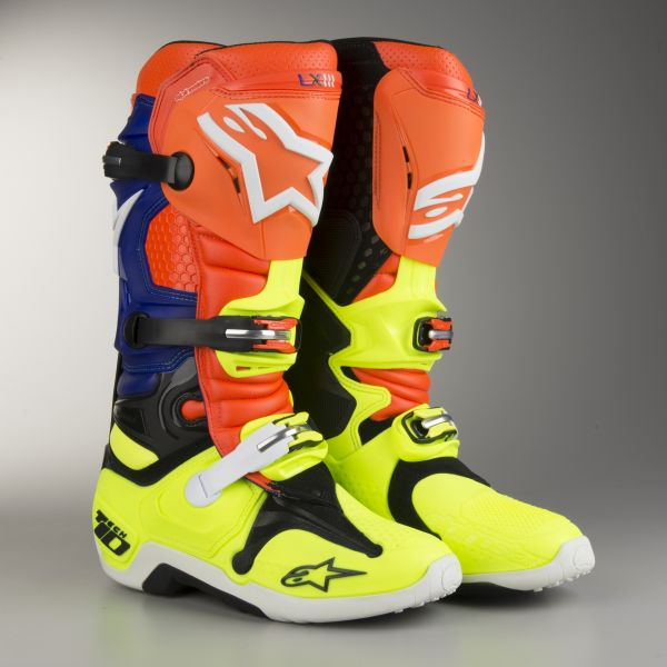 Cizme MX-Enduro Alpinestars LICHIDARE STOC Cizme Tech10 Aktion Orange/Blue/Yellow