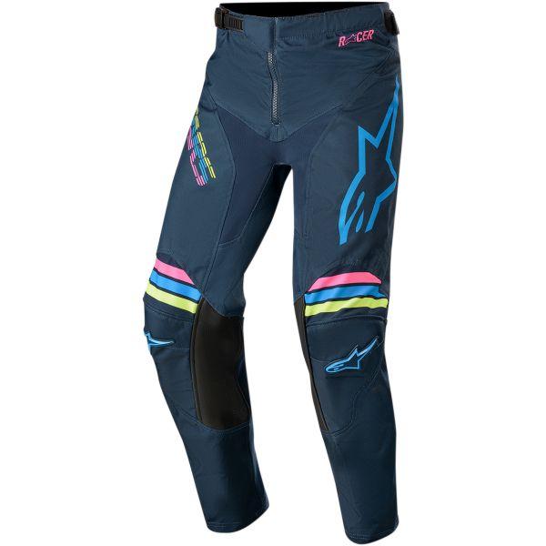 Pantaloni MX-Enduro Copii Alpinestars Pantaloni Copii Racer Braap S20 Navy/Aqua/Pink