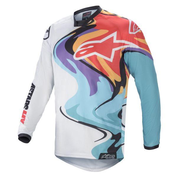 Tricouri MX-Enduro Alpinestars Racer Flagship MX Jersey Multicolor/White 2021