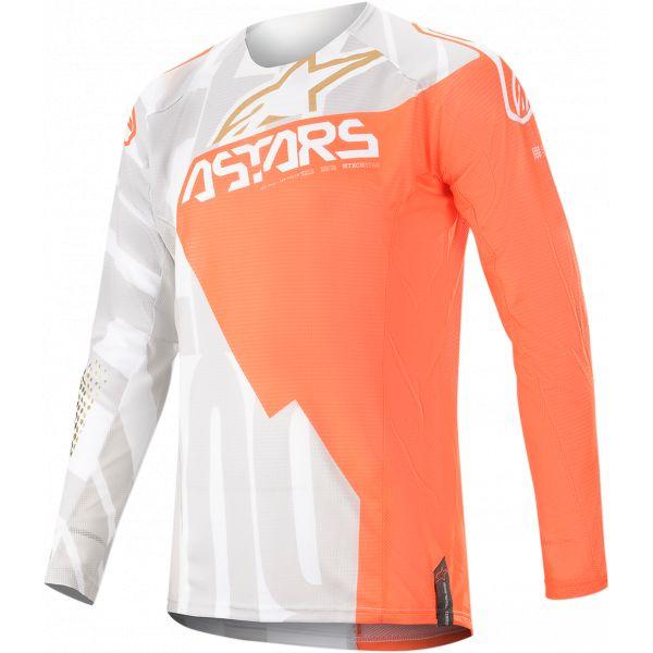 Tricouri MX-Enduro Alpinestars Techstar Factory Metal X Jersey S20 White/Orange Gold
