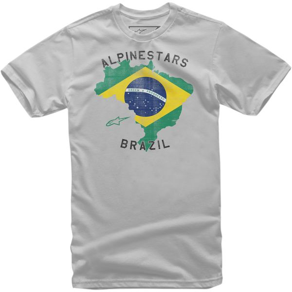 Tricouri Casual Alpinestars Tricou Brazil Silver S9
