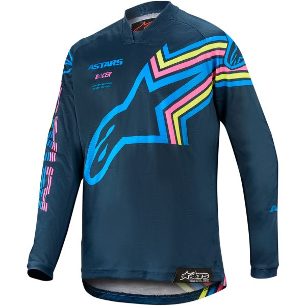 Tricouri MX-Enduro Copii Alpinestars Tricou Copii Racer Braap S20 Navy/Aqua/Pink
