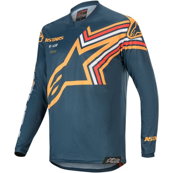 Tricouri MX-Enduro Alpinestars Tricou Racer Braap S20 Navy/Orange